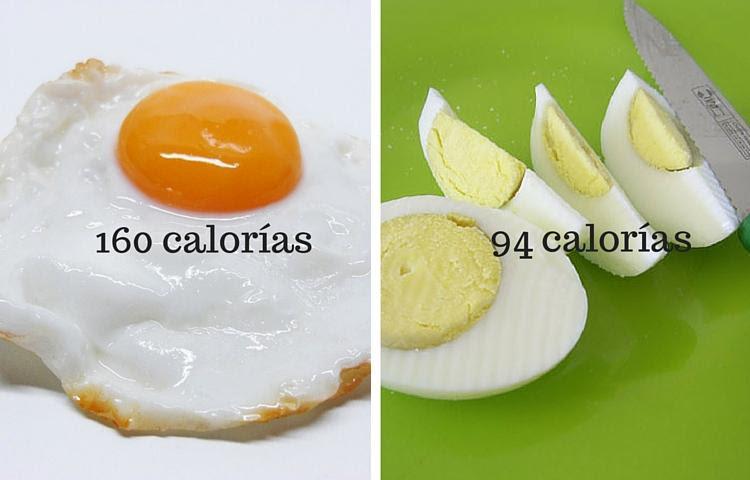 huevo cocido y frito calorías