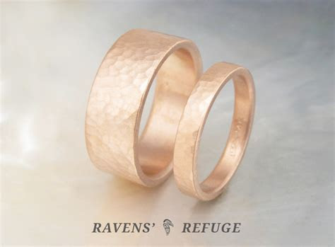 handmade rose gold wedding bands ? textured gold wedding