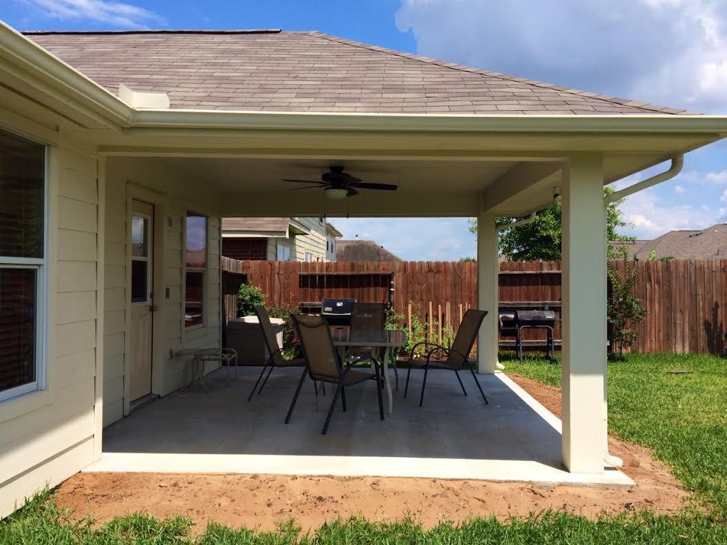 Imbrogno hip-roof patio cover Houston Texas