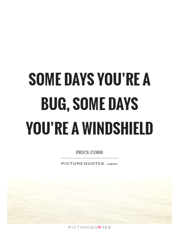 Some Days Youre A Bug Some Days Youre A Windshield Picture Quotes