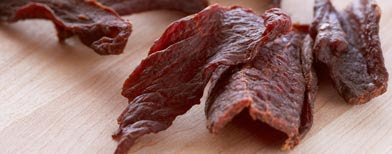 Close up of beef jerky (Corbis)