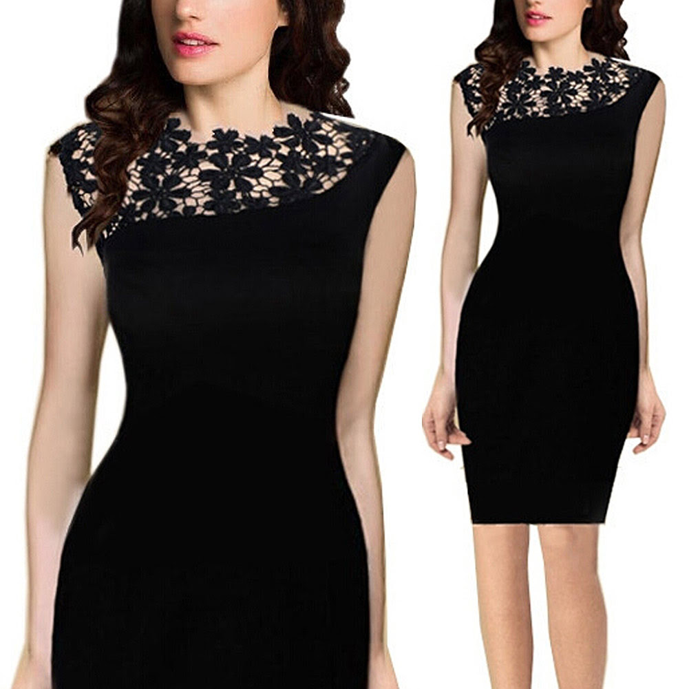women ladys lace sleeveless bodycon cocktail evening party