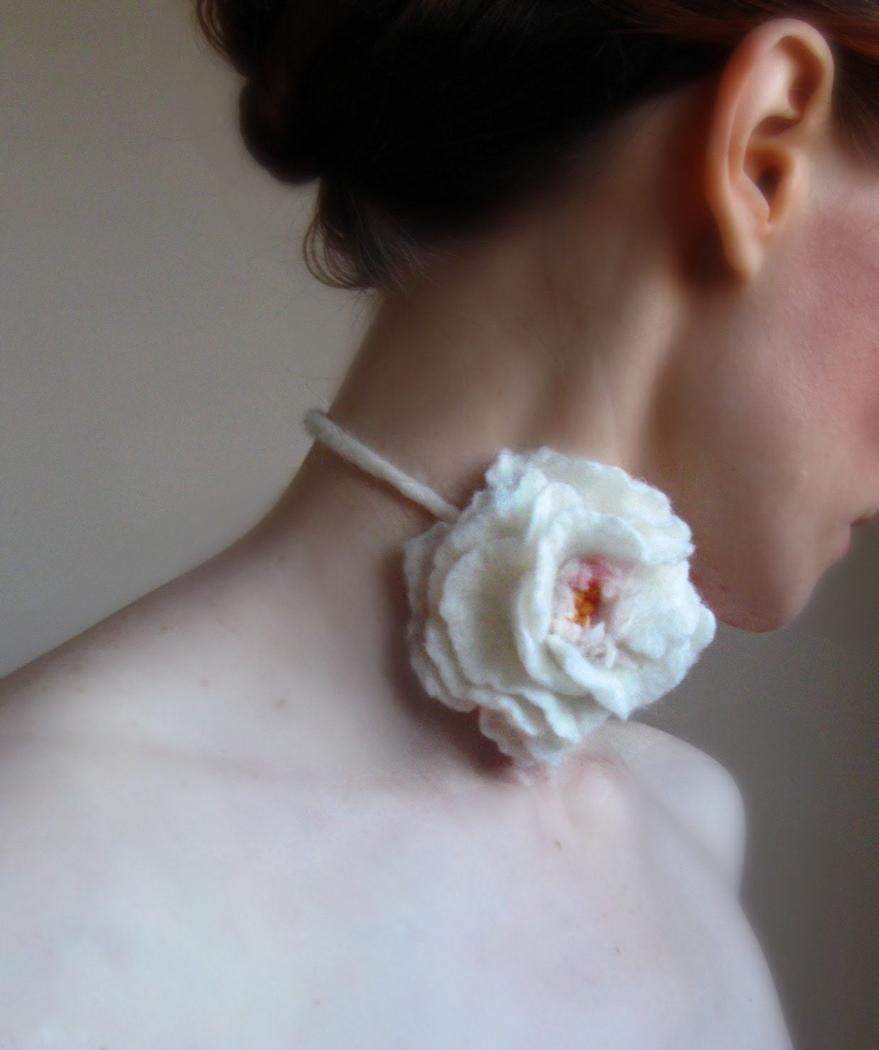 Allure -White Rose Felt Necklace-Choker-Hand Felted From Wool