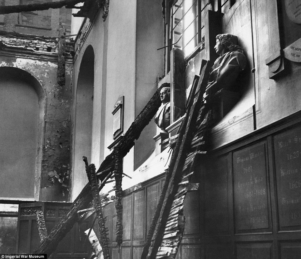 Battered: A wider image from Beaton's collection shows bomb damage to the Church of St. Anne and St. Agnes in London in 1940