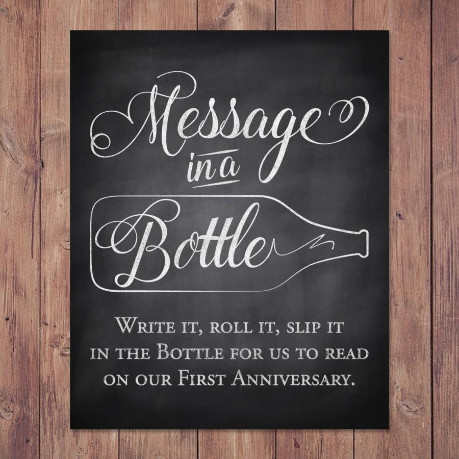 Rustic Wedding Guest Book Sign Message In A Bottle Anniversary