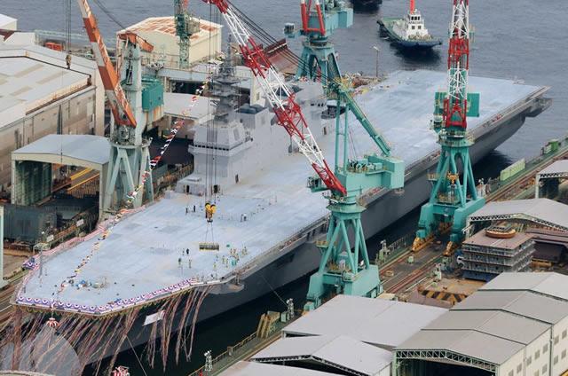 Japón dio a conocer por primera vez en agosto 2013 el Izumo (DDH-183), (JMSDF) futuro destructor helicóptero Japón Maritime Self Defense Force que se convertirá en el buque insignia de su flota. En primer lugar de la clase 22DDH, la marina de guerra japonesa Izumo es el buque de guerra más grande construido por Japón desde la Segunda Guerra Mundial. El porta-helicópteros 248 metros de largo y 19.500 toneladas llamado Izumo está todavía en construcción en Yokohama y se fija para ser comisionado en servicio en 2015.