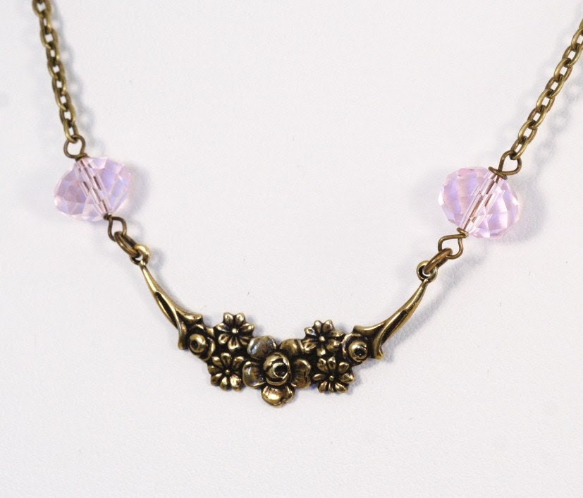 Floral Swag Necklace - Pink