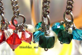 Close up of Wire wrapped Dangle Earrings
