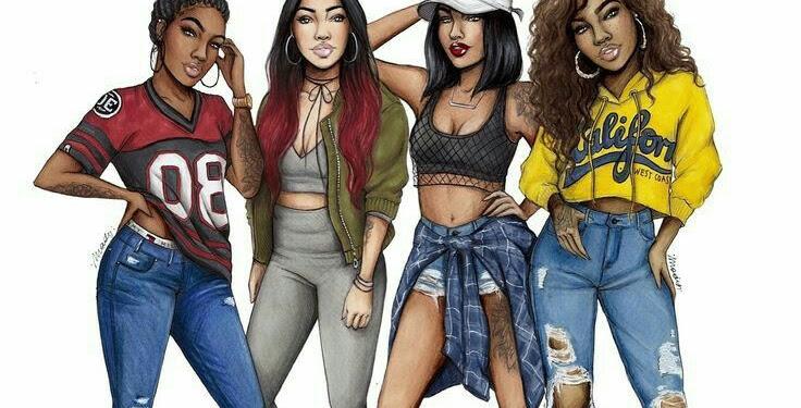 Black Girl Friends Drawings
