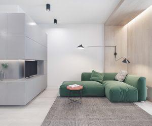 geometric shelf colorful sofa sitting area 300x250