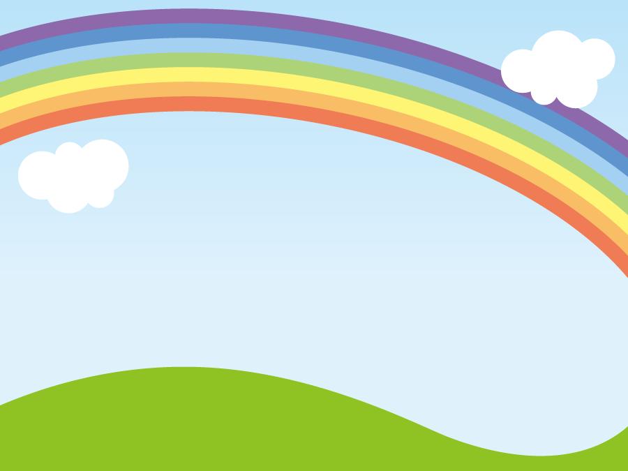 フリーイラスト 青空に架かる虹の風景でアハ体験 Gahag