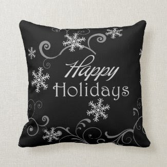 Classic Black & White Reversible Christmas Pillow