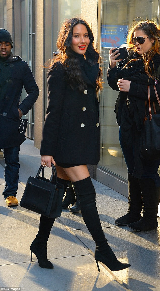 The thigh's the limit! Earlier on Wednesday Olivia proved she can look just as elegant while off-duty, turning heads in a pair of thigh high boots as she stepped out in New York