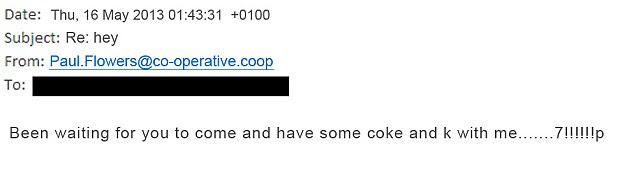 Drug reference: This email, also sent to Ciaron says he wanted to take cocaine and ketamin with him