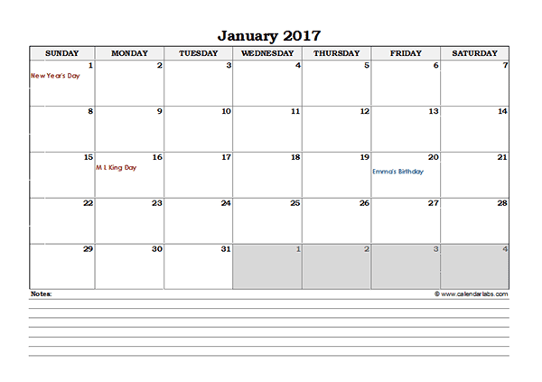 2017 Excel 4 Month Calendar Template - Free Printable Templates
