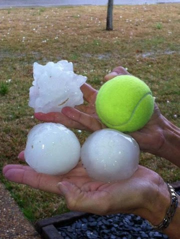 Ice stones from the Heavens, larger than tennisballs.