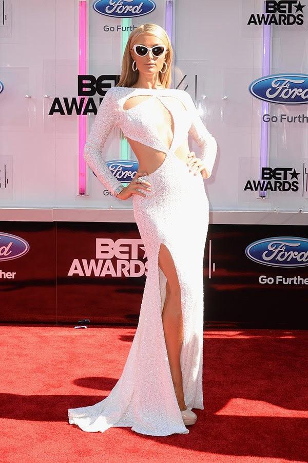 paris hilton michael costello white cutout gown bet awards 2014