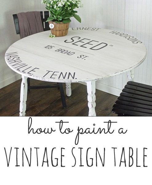 how to paint a vintage sign style table: an easy step by step project without a craft cutter!