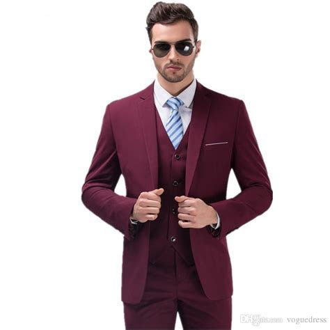 Best Selling Burgundy Suits for Mens Groom Tuxedos One