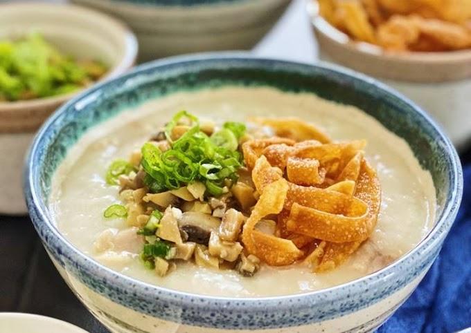 Recipe: Delicious Chicken Porridge with Sauté Mushrooms
