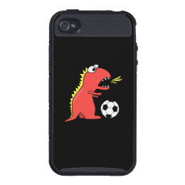Protective Black Funny Cartoon Dinosaur Soccer Case For iPhone 4