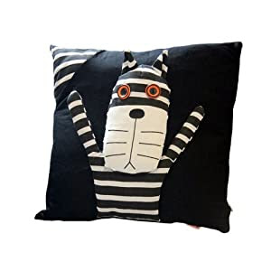 Amazon.com - Black Throw Pillows Solid Black And White Stripes Cat ...