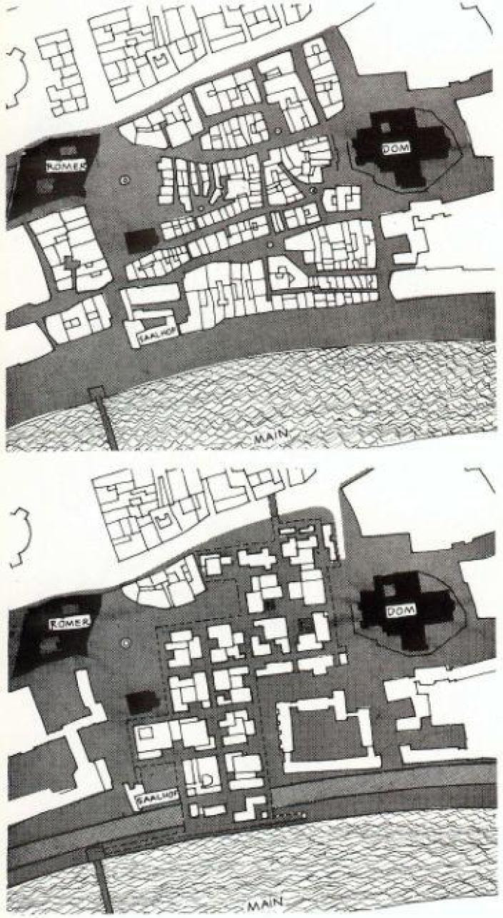 Candilis, Josic & Woods. Frankfurt-Römerberg competition. Germany, 1963. Frankfurt-Römerberg: historical city (top) and proposed urban fabric (bottom) (source: Candilis-Josic-Woods: a decade of architecture and urban design, Krämer 1968)