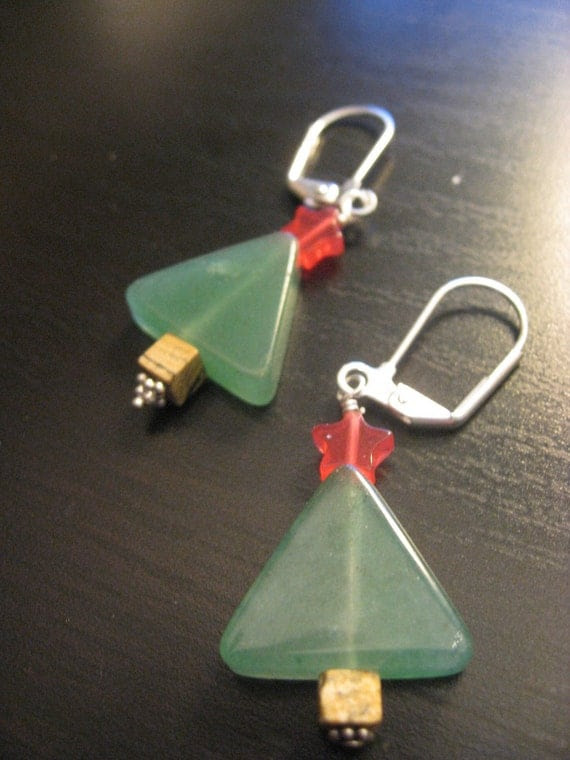 Stone and Swarovski Crystal Christmas Tree Leverback Earrings