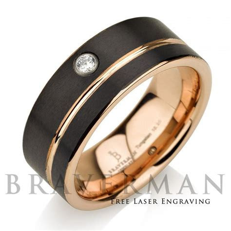 Black Tungsten Wedding Band,14k Rose Gold, White Diamond