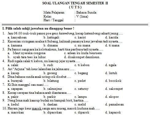 Soal Uts Bahasa Sunda Kelas 3 Kurikulum 2013 Guru Paud