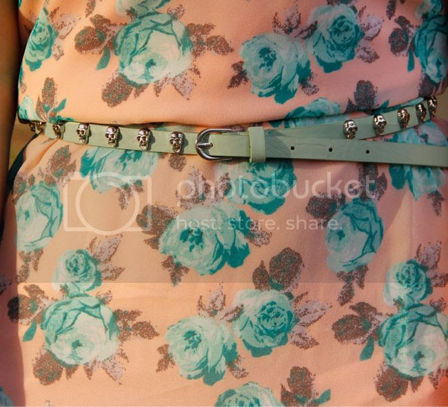 Ray Ban Clubmaster sunglasses, Xhilaration floral slip dress with lace trim, Merona satchel, Target Mossimo mint green skull belt, and Merona denim jacket