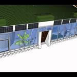 ECOESCUELA. Tiene 270 metros cuadrados y  recibe energía mediante paneles fotovoltaicos.
