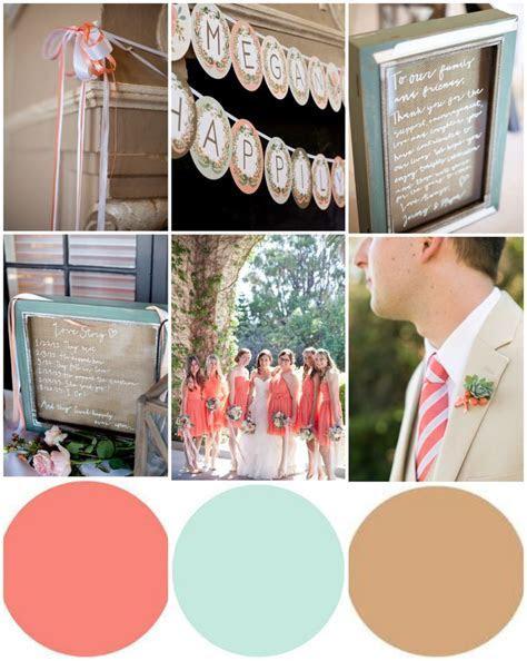 Coral/robins egg blue/ light brown wedding color palette