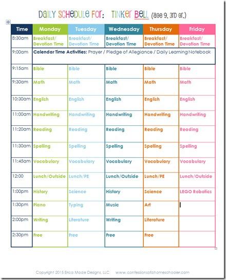 3rd Grade Daily Homeschool Schedule - Confessions of a Homeschooler