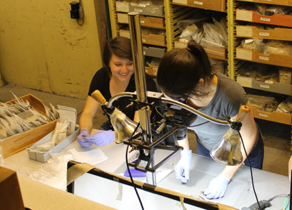 Students were recently working to digitize a large set of Hearst Museum artifacts.  Photo by Michael Black.
