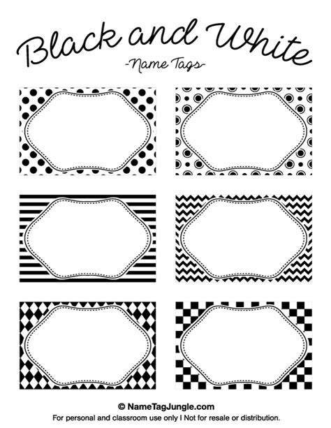Printable Black and White Name Tags