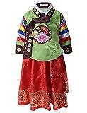 (KH045) 女の子 タイムレス 異国的 ファッション 韓服(ハンボク) 韓国伝統 ドレス セット GREENRED Large