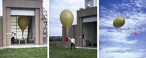 Secuencia de inflado y lanzamiento de un globo sonda de neoprene.