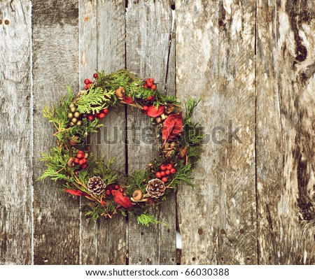 Christmas Wreath (Home Made) With Natural Decorations Hanging On A