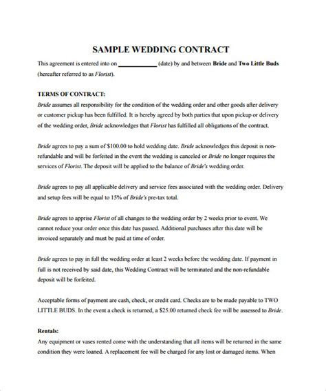 Sample Wedding Contract   25  Documents In PDF, Word