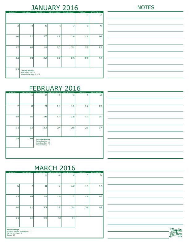 3 Month Calendar 2016 Green 612