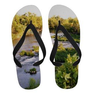 Creek Scene Mens Nature Flip Flops