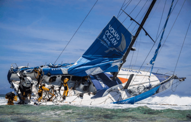 Team Vestas Wind grounded on the Cargados Carajos Shoals, Mauritius, in the Indian Ocean, November 30,2014. Photo credit: Brian Carlin/Team Vestas Wind/Volvo Ocean Race