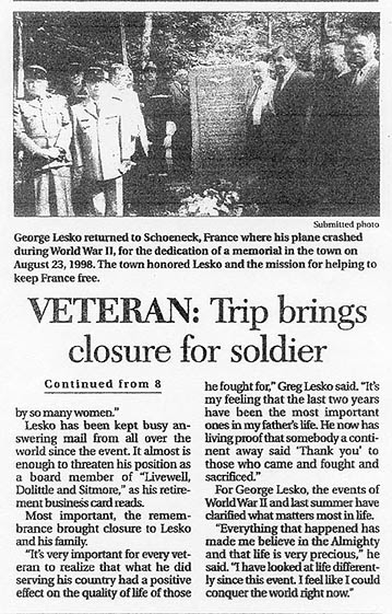 newspaper article brings closure
