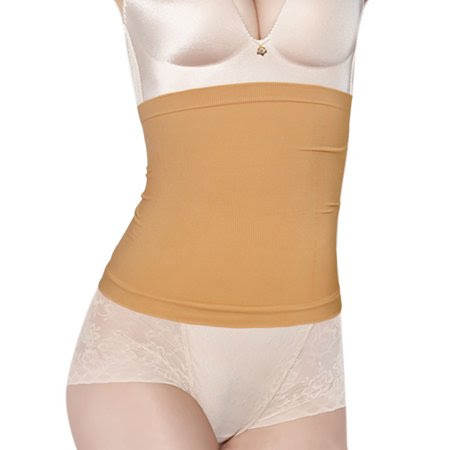 Women's Circle Pattern Stretchy Seamless Waist Cincher Beige (Size M \/ 8)