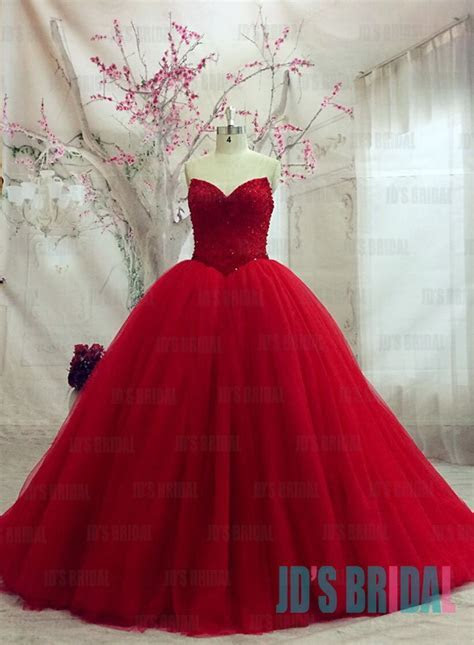 JW16182 sexy sweetheart neck bling sequined bodice red
