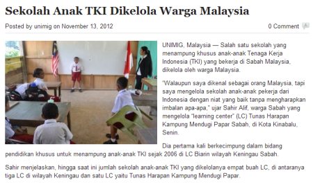 Learning Center yang didirikan oleh warga Sabah, Safir Ali