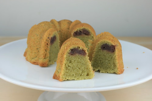 Matcha Mochi Bundt with An Filling - I Like Big Bundts
