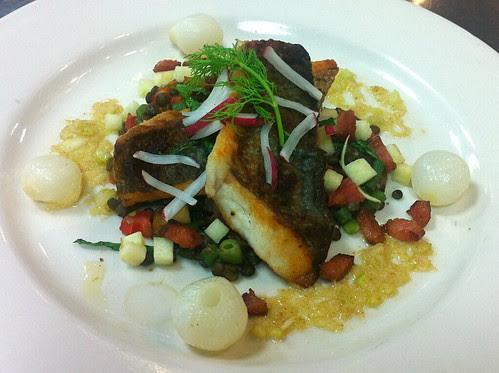 Striped Bass over Lentils