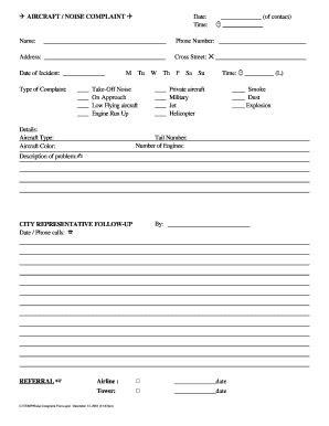 Noise Complaint Form - Fill Online, Printable, Fillable